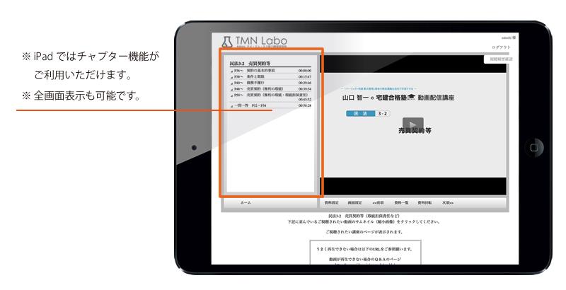 iPad 選択した講座の再生画面イメージ